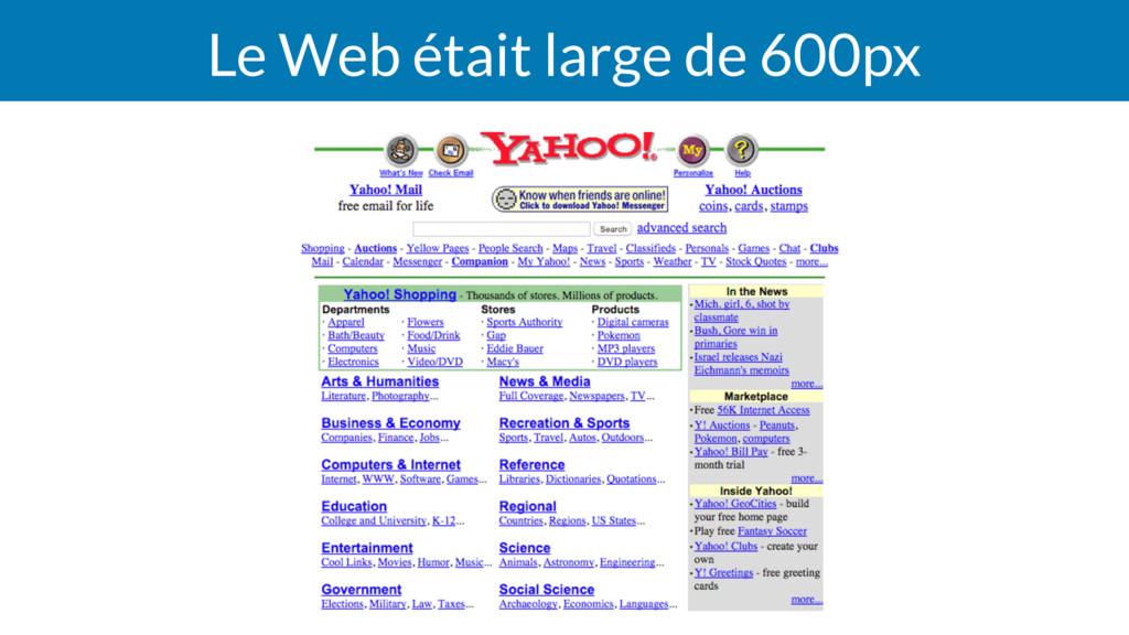 Le Web était large de 600px