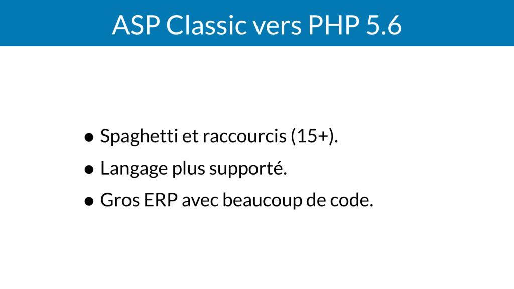 ASP Classic vers PHP 5.6 • Spaghetti et raccour...