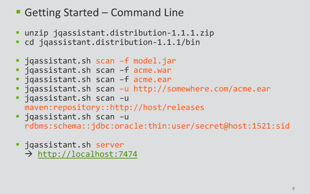 8  Getting Started – Command Line  unzip jqas...