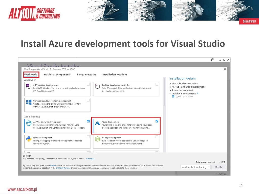 19 Install Azure development tools for Visual S...