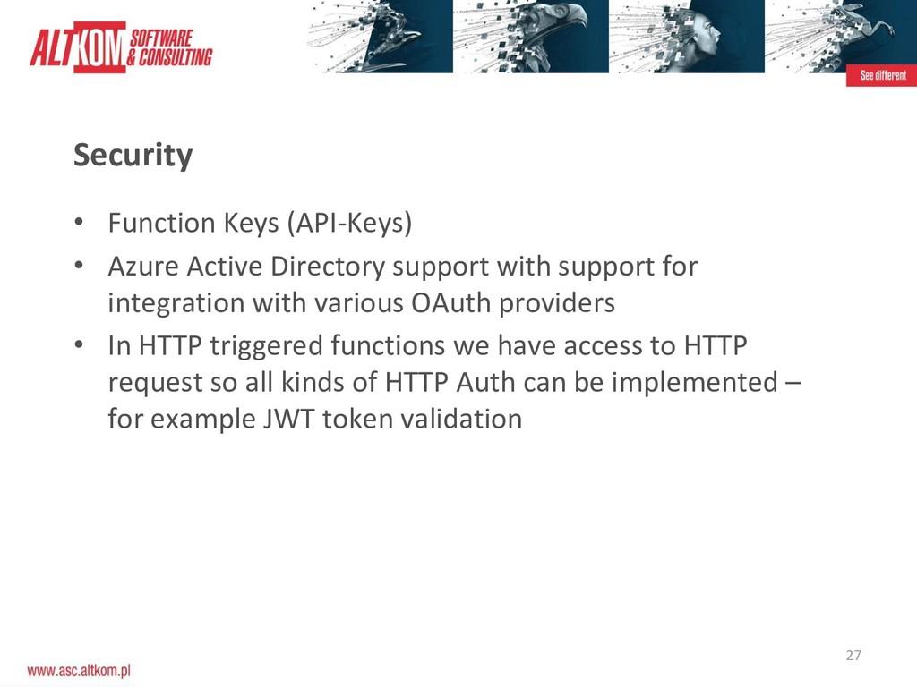 27 Security • Function Keys (API-Keys) • Azure ...