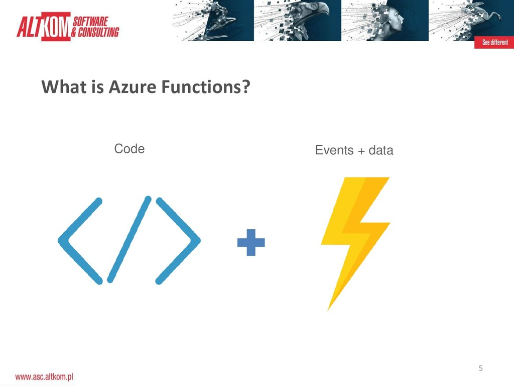 5 What is Azure Functions? Code Events + data
