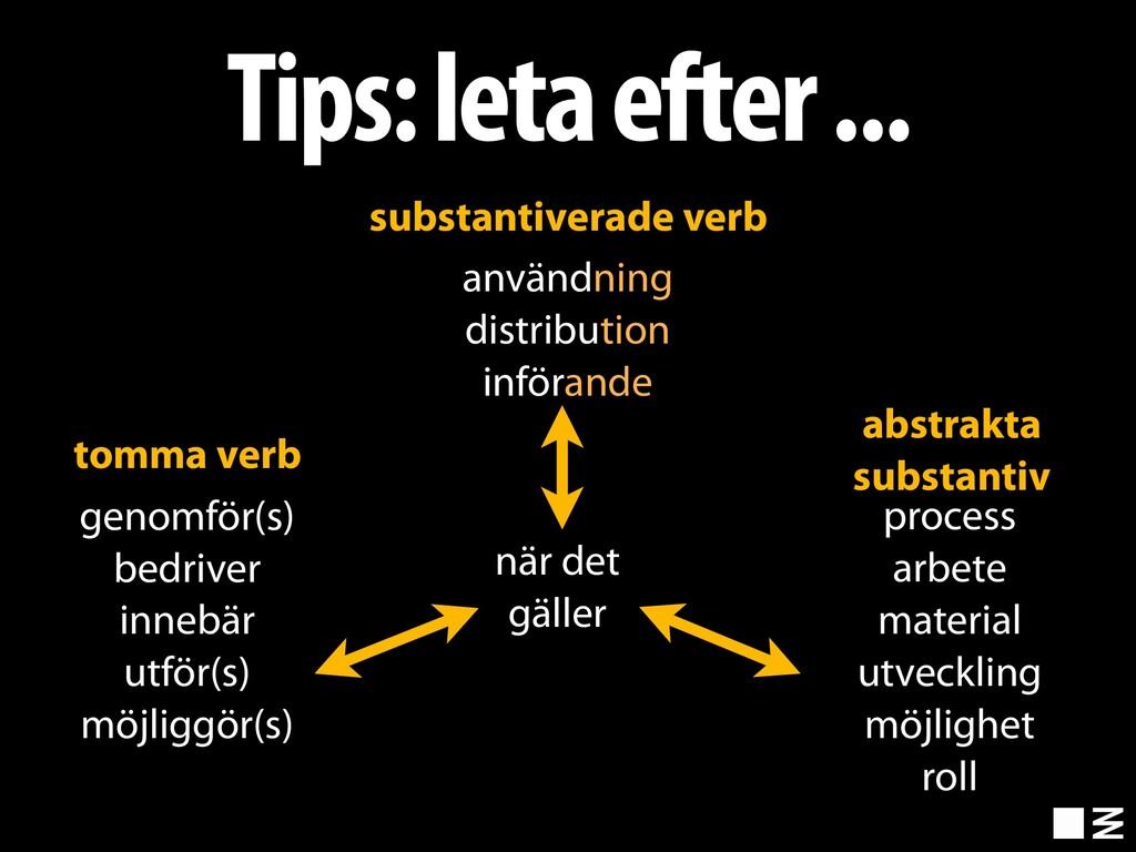 Tips: leta efter ... genomför(s) bedriver inneb...