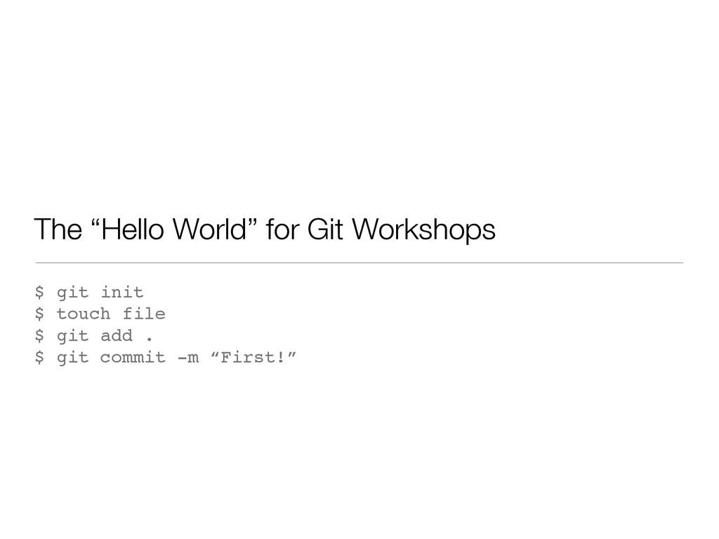 """The """"Hello World"""" for Git Workshops $ git init ..."""