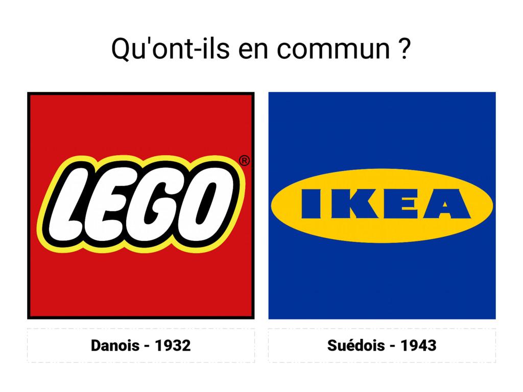 Qu'ont-ils en commun ? Suédois - 1943 Danois - ...