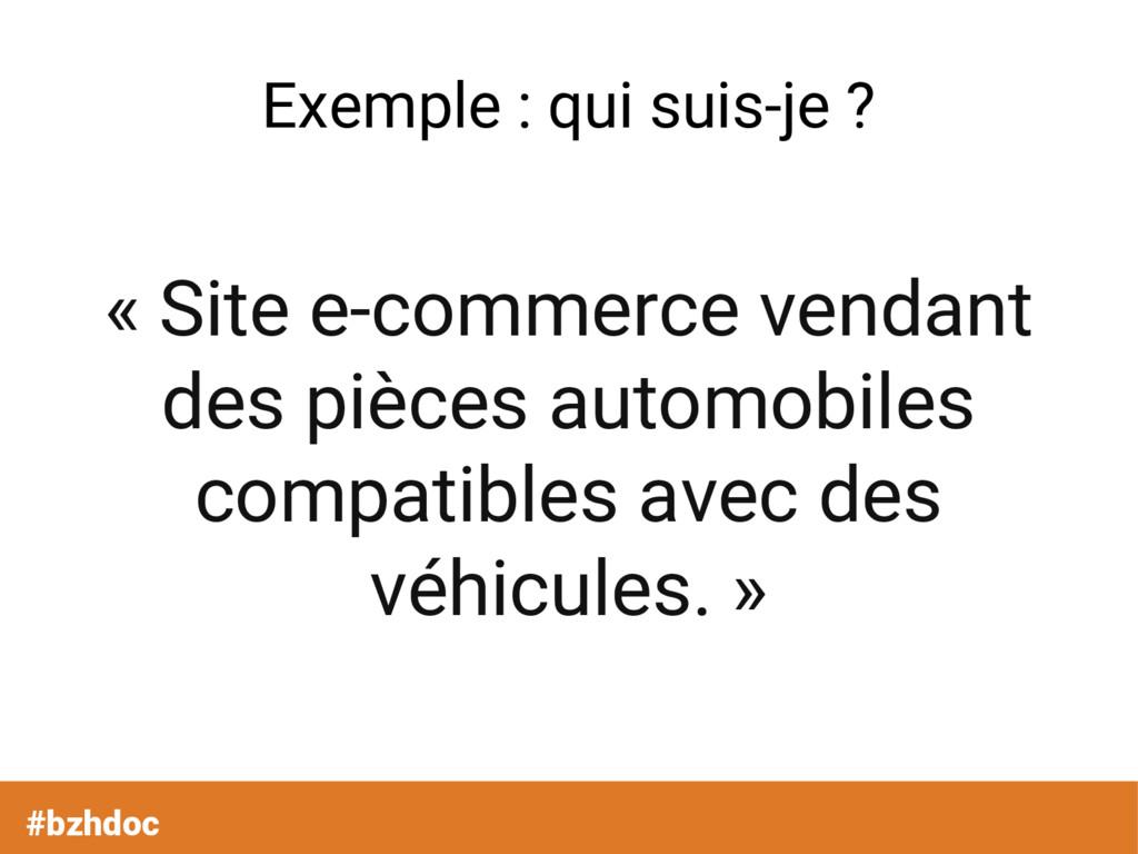 Exemple : qui suis-je ? « Site e-commerce venda...