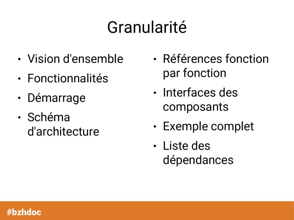 Granularité ● Vision d'ensemble ● Fonctionnalit...