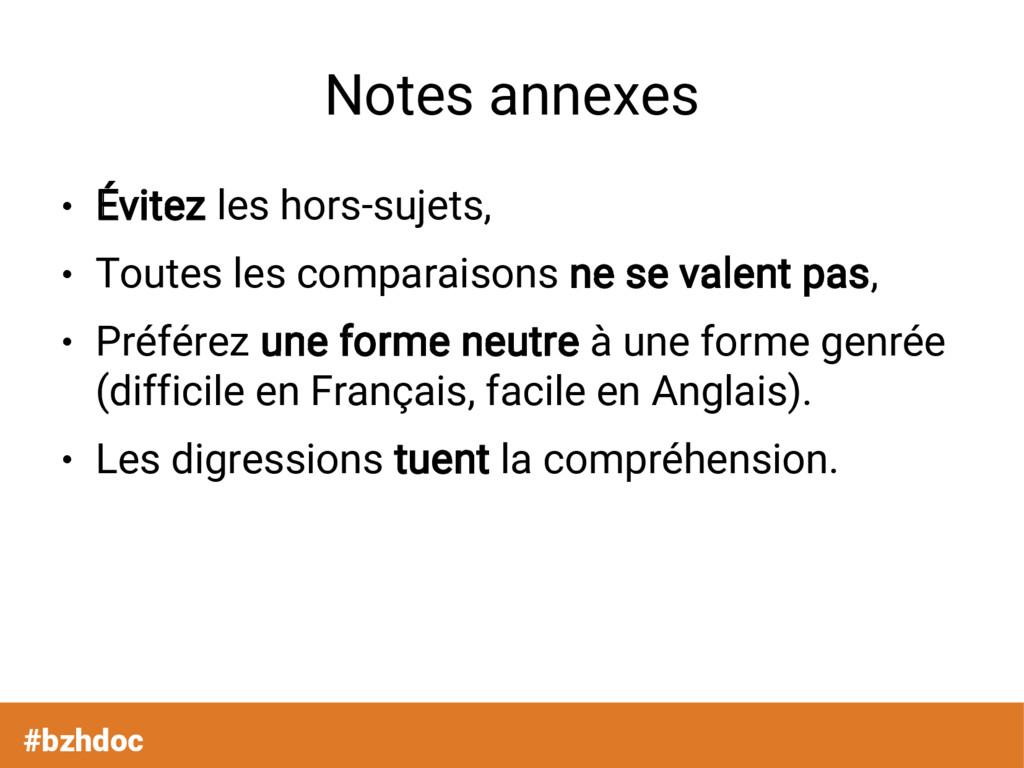 Notes annexes ● Évitez les hors-sujets, ● Toute...