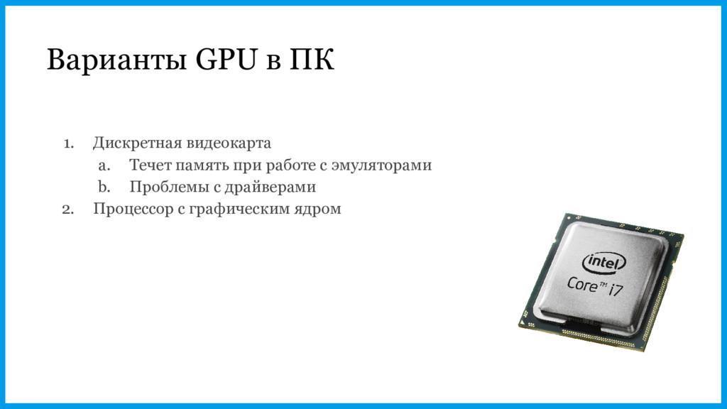 Варианты GPU в ПК 1. Дискретная видеокарта a. Т...
