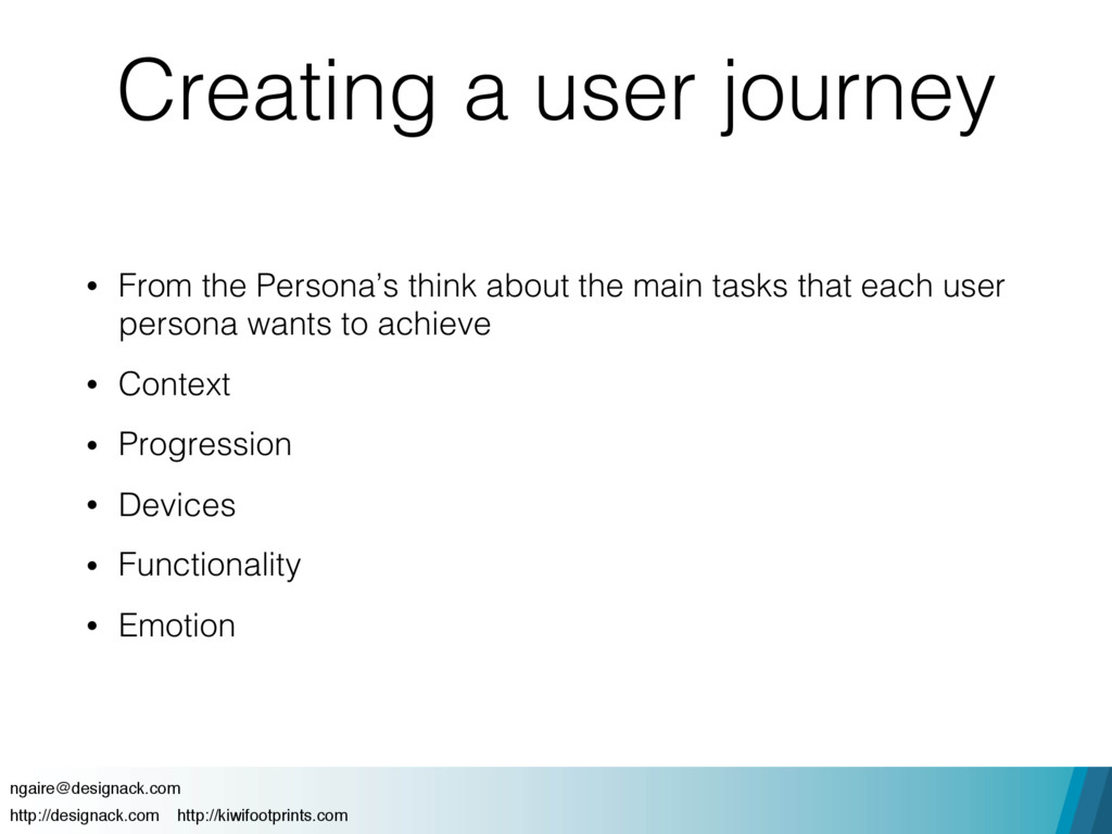 Creating a user journey • From the Persona's th...