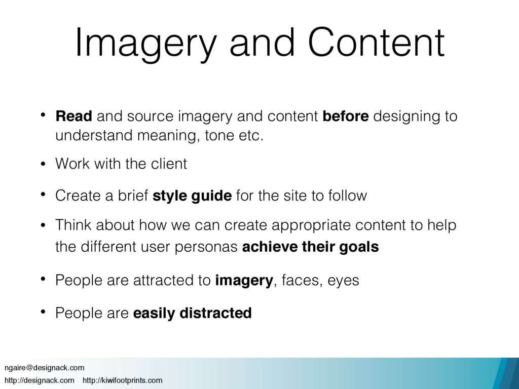 Imagery and Content • Read and source imagery a...