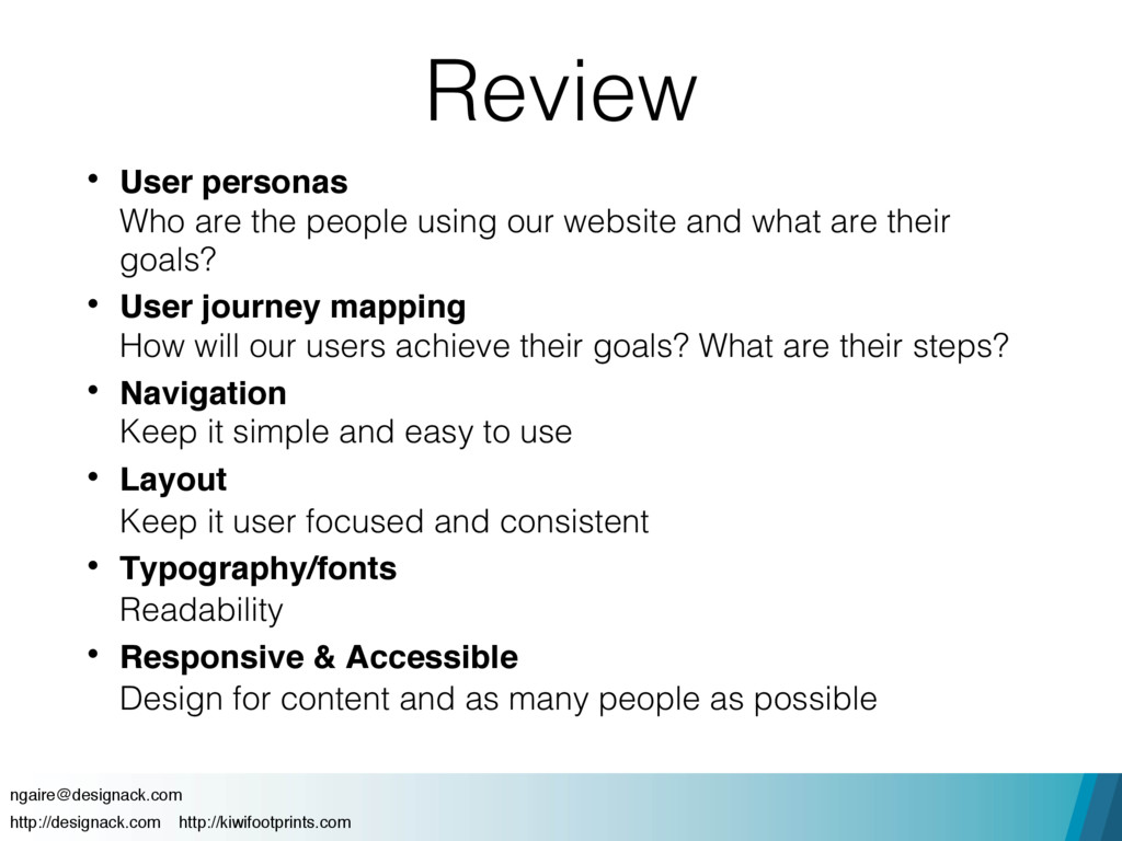 Review • User personas 