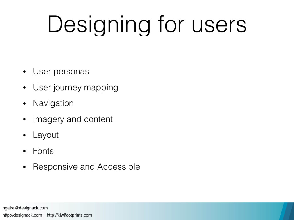 Designing for users • User personas • User jour...