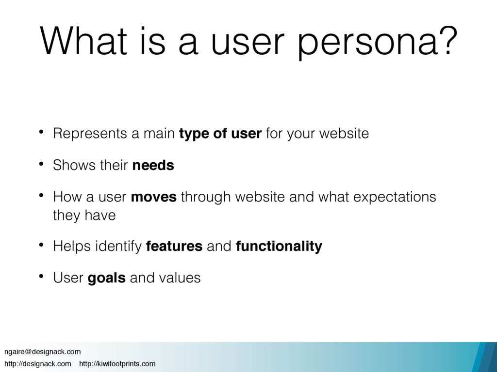 What is a user persona? • Represents a main typ...