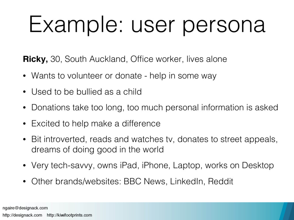 Example: user persona Ricky, 30, South Auckland...