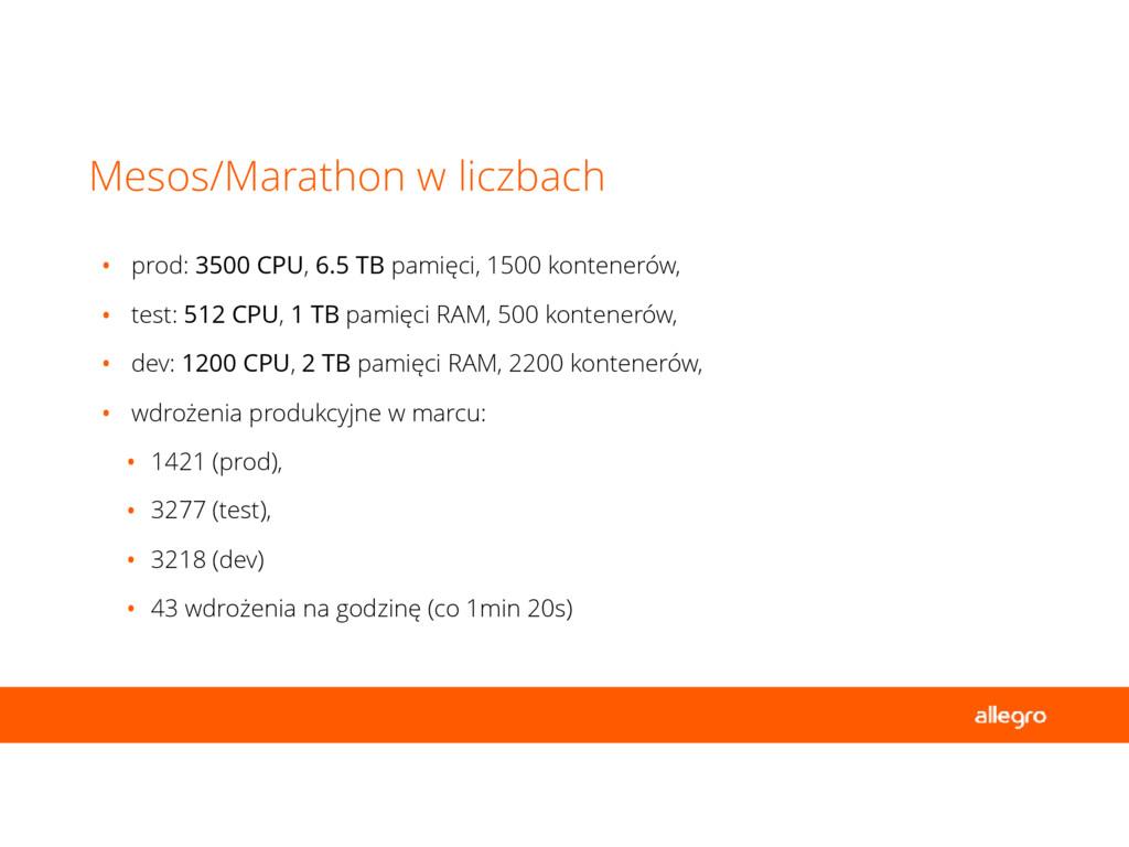 • prod: 3500 CPU, 6.5 TB pamięci, 1500 kontener...