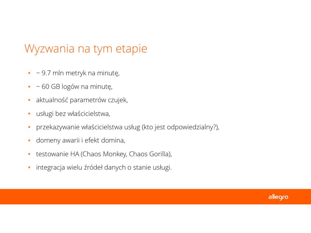 • ~ 9.7 mln metryk na minutę, • ~ 60 GB logów n...
