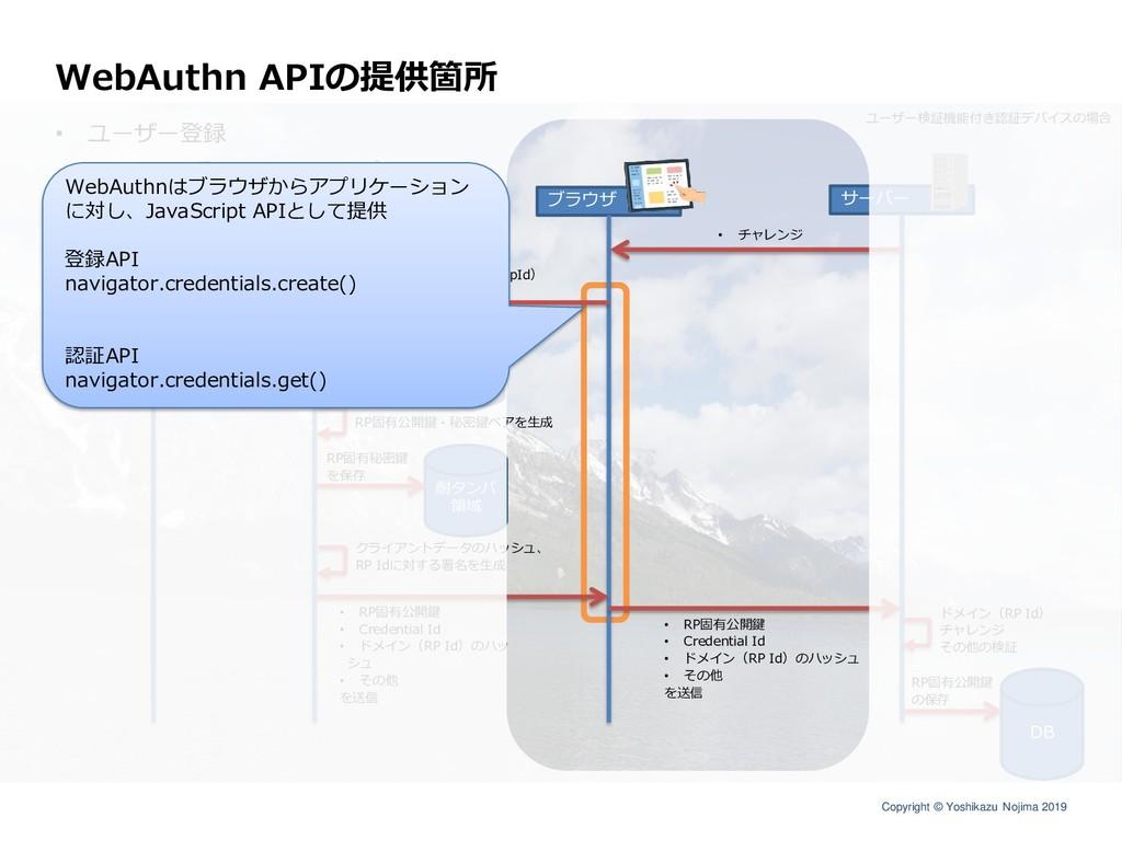 Copyright © Yoshikazu Nojima 2019 WebAuthn APIの...