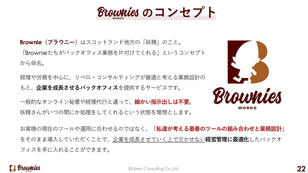 ©Libero Consulting Co.,Ltd. 22 のコンセプト Brownie(ブ...