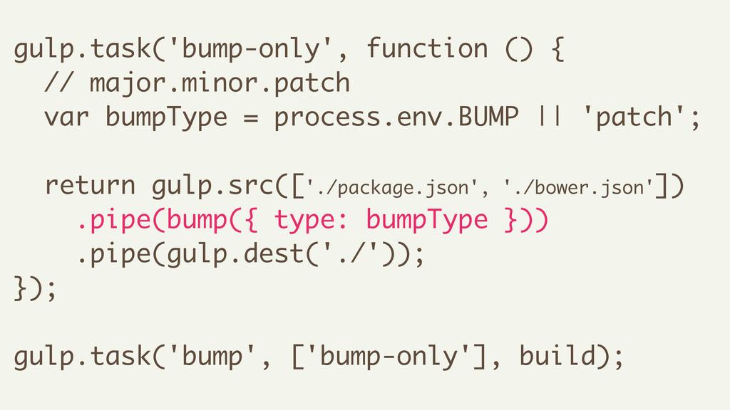 gulp.task('bump-only', function () { // major.m...