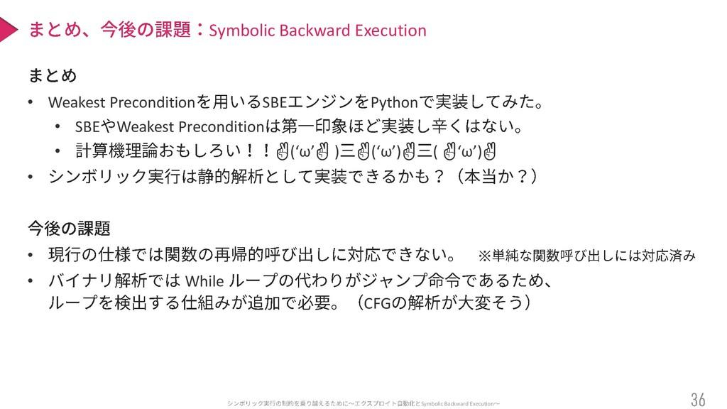 • Weakest Precondition SBE Python • SBE Weakest...