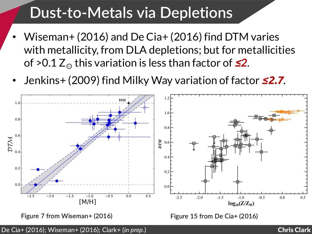 Dust-to-Metals via Depletions • Wiseman+ (2016)...