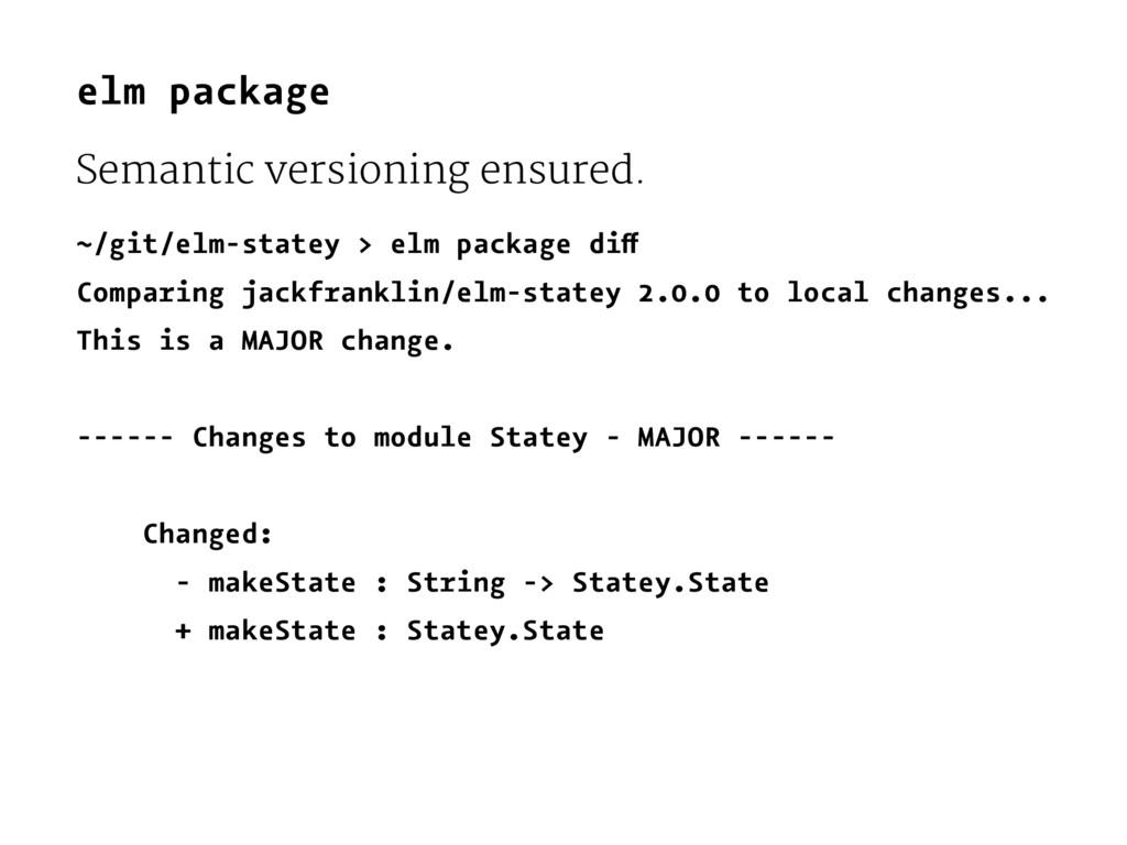 elm package Semantic versioning ensured. ~/git/...