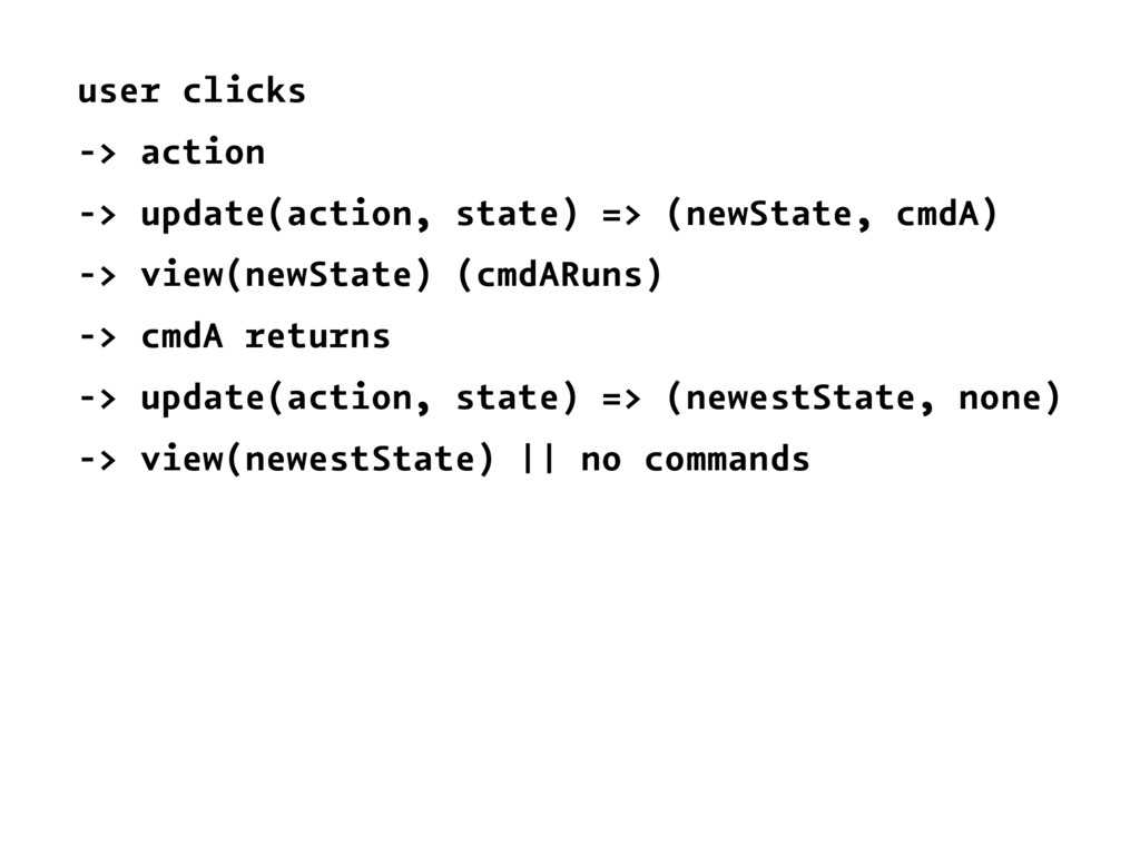 user clicks -> action -> update(action, state) ...
