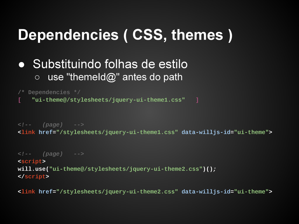 Dependencies ( CSS, themes ) ● Substituindo fol...