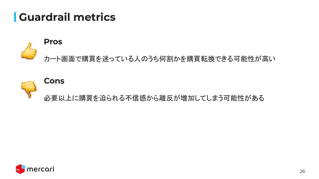 26 Confidential Guardrail metrics Pros カート画面で購買を...