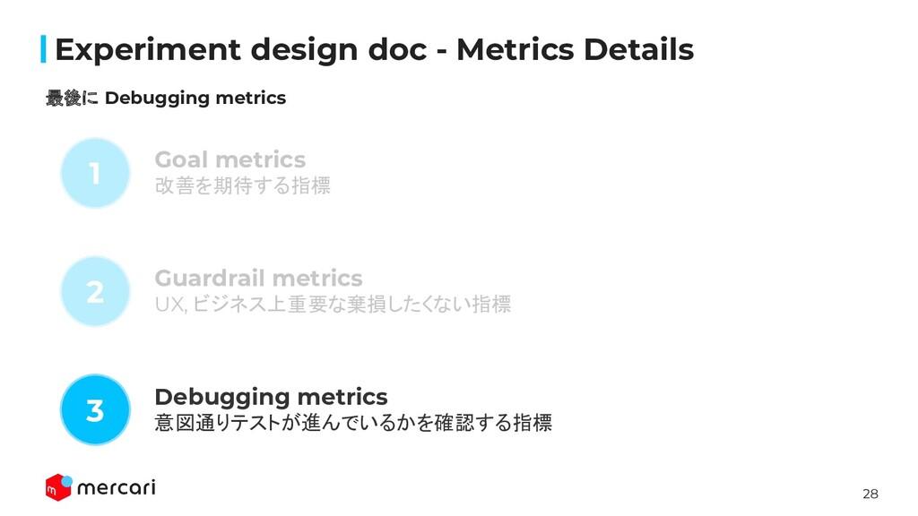 28 Confidential Experiment design doc - Metrics ...