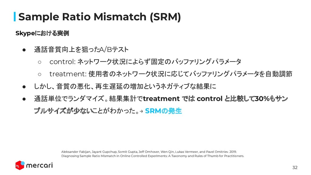 32 Confidential Sample Ratio Mismatch (SRM) Skyp...