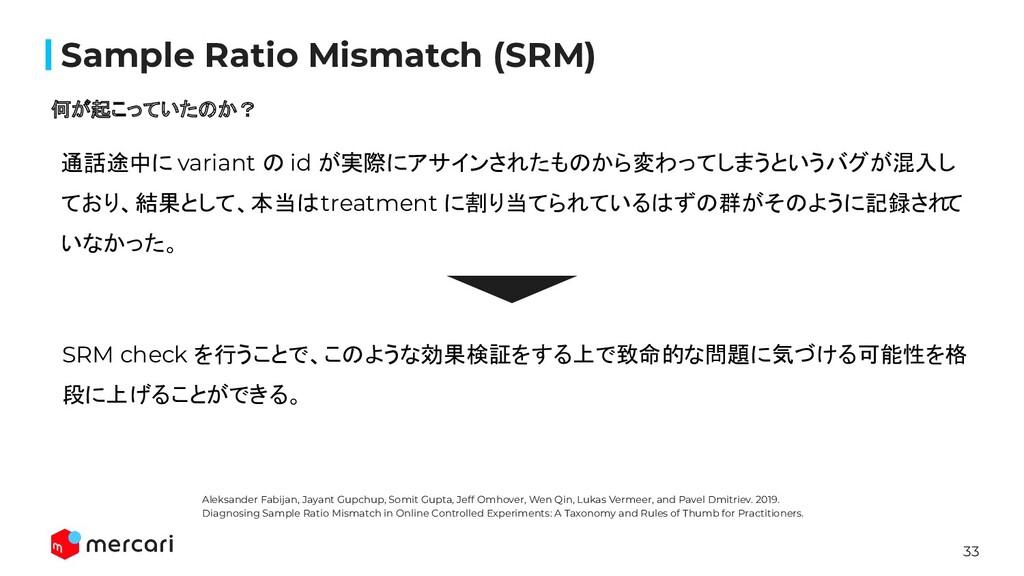 33 Confidential Sample Ratio Mismatch (SRM) 何が起こ...