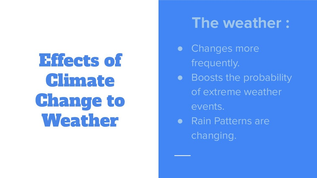 Effects of Climate Change to Weather The weathe...