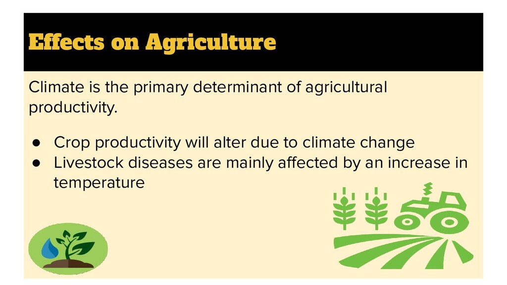 Effects on Agriculture Climate is the primary d...