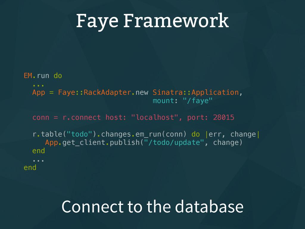 Faye Framework EM.run do ... App = Faye::RackAd...