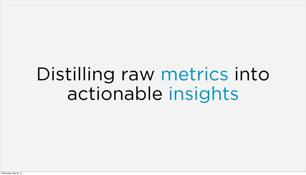 Distilling raw metrics into actionable insights...