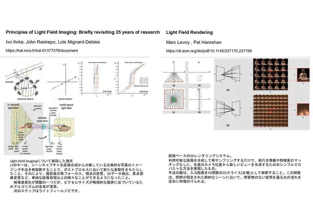 Light Field Imagingについて解説した論文 LFのキーは、シーンキャプチャを画...