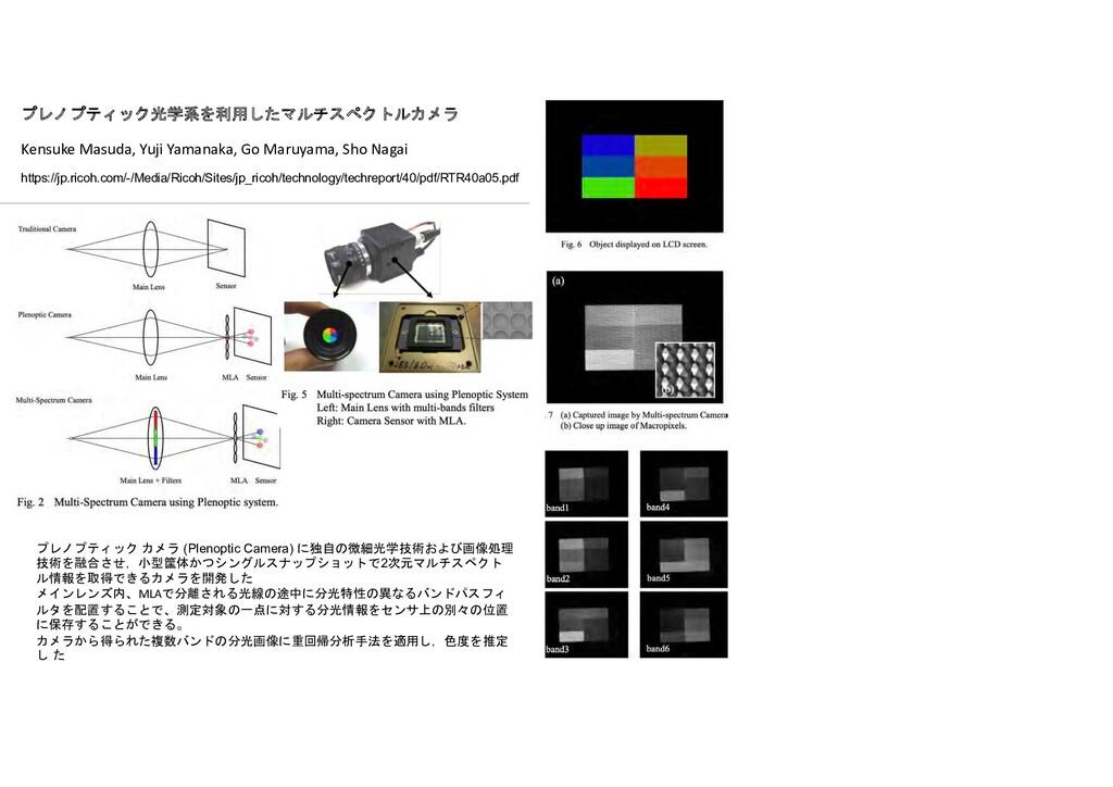 プレノプティック カメラ (Plenoptic Camera) に独自の微細光学技術および画像...