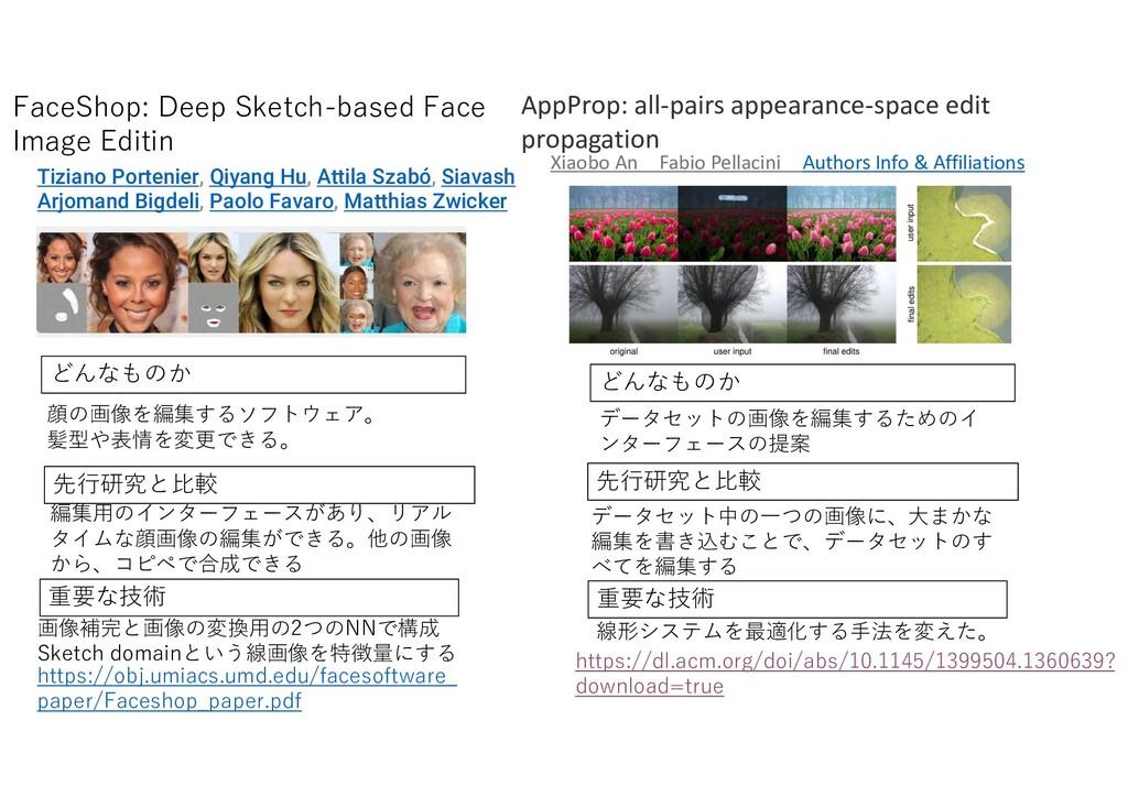 先行研究 比較 重要 技術 顔 画像を編集す ソ ト ア 髪型や表情を変更 編集用 インター ...
