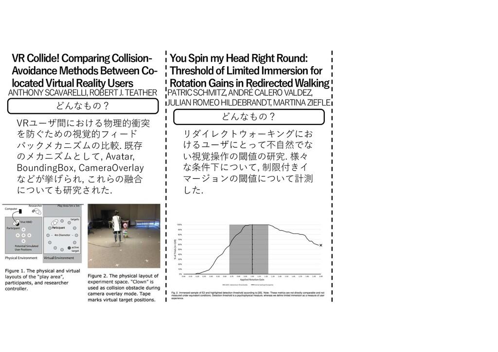 どんなもの? VRユーザ間における物理的衝突 を防ぐための視覚的フィード バックメカニズムの⽐...