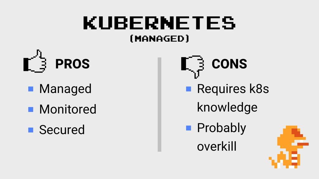 PROS  KUBERNETES (MANAGED) Managed Monitored Se...