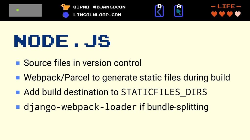 NODE.JS Source files in version control Webpack...