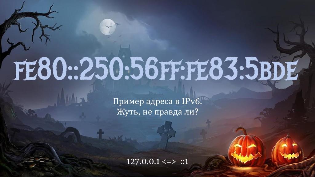 fe80::250:56ff:fe83:5bde Пример адреса в IPv6. ...
