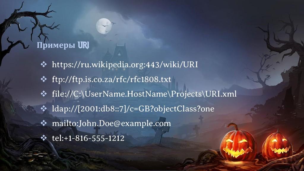 Примеры URI  https://ru.wikipedia.org:443/wiki...