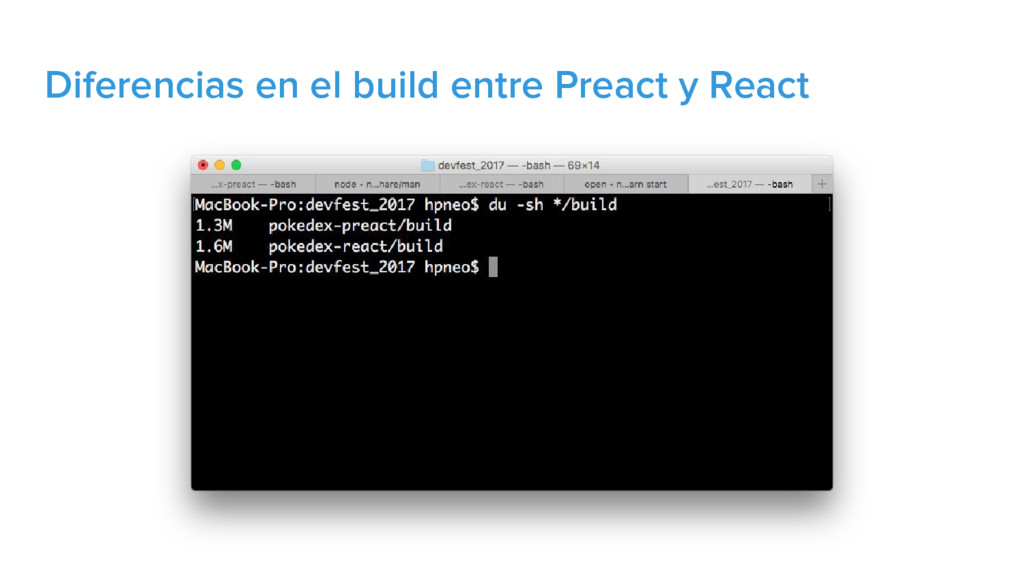 Diferencias en el build entre Preact y React