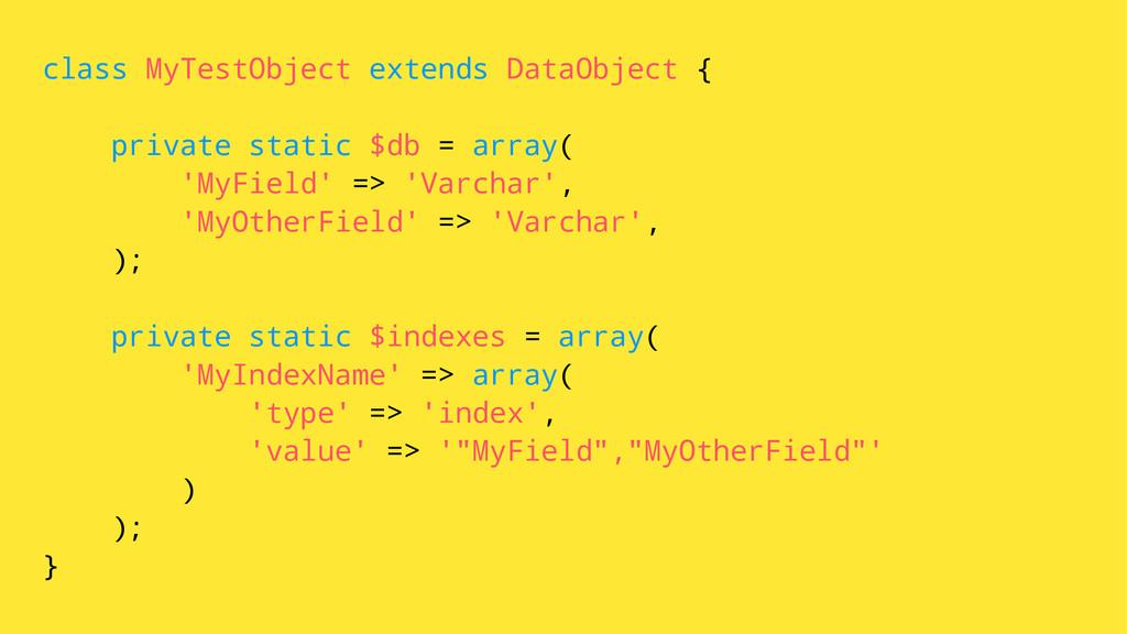 class MyTestObject extends DataObject { private...