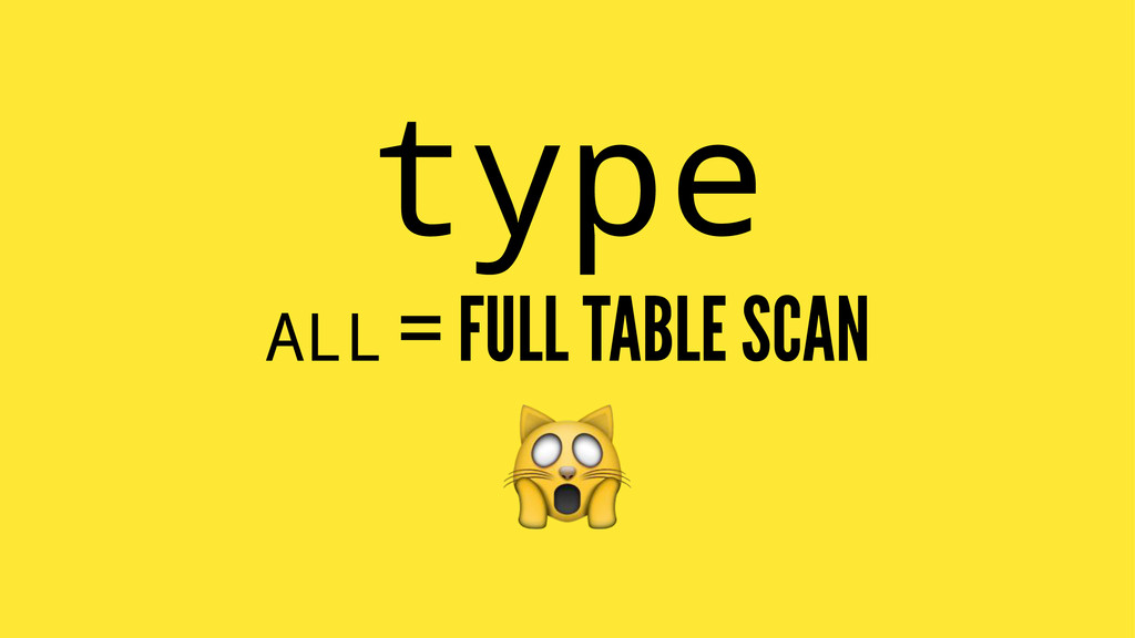 type ALL = FULL TABLE SCAN !