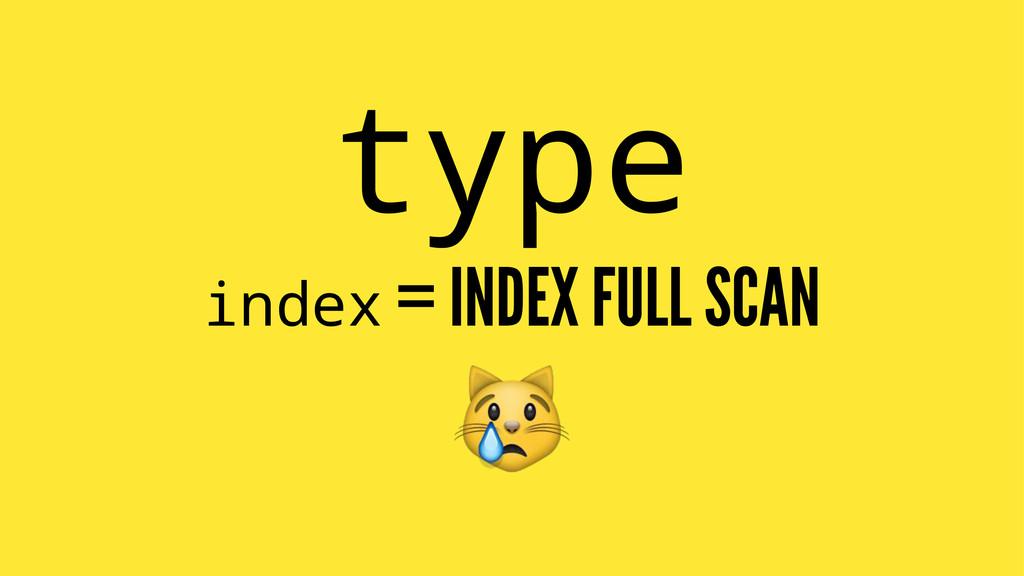 type index = INDEX FULL SCAN !
