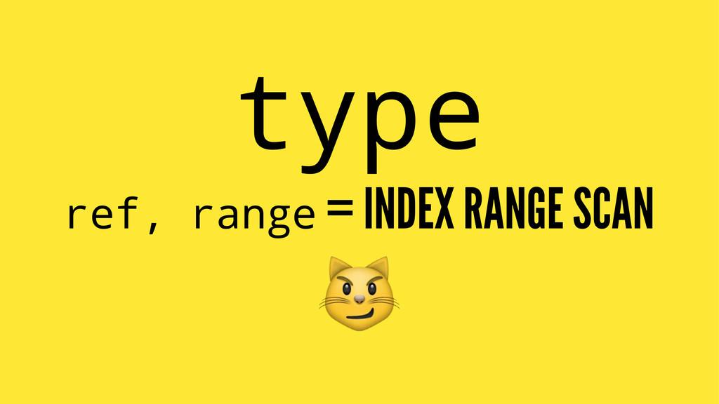 type ref, range = INDEX RANGE SCAN !